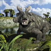 An Estemmenosuchus Mirabilis Stands Print by Walter Myers