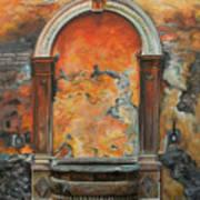 Ancient Italian Fountain Print by Charlotte Blanchard