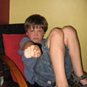 Angry Boy Pointing The Accusing Finger Print by Christopher Purcell