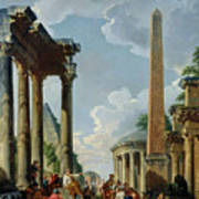 Architectural Capriccio With A Preacher In The Ruins Print by Giovanni Paolo Pannini or Panini