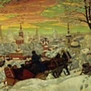 Arriving For The Holidays Print by Boris Mihajlovic Kustodiev