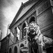 Art Institute Of Chicago Lion Statue In Black And White Print by Paul Velgos