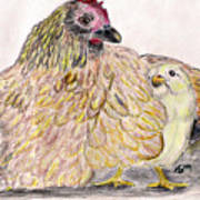 As A Hen Gathereth Her Chickens Under Her Wings Print by Marqueta Graham