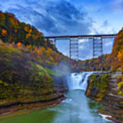 Autumn Morning At Upper Falls Print by Rick Berk