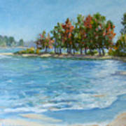 Autumn Shores - Jordan Lake Print by L Diane Johnson