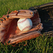 Baseball Gloves After The Game Print by Anna Lisa Yoder