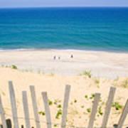 beach fence and ocean Cape Cod Print by Matt Suess