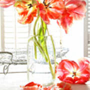 Beautiful Tulips In Old Milk Bottle  Print by Sandra Cunningham