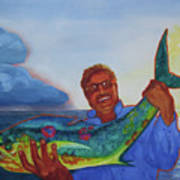 Ben And The Dolphin Fish Print by Kathy Braud