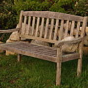 Bench With Stone Print by Richard Mansfield