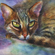 Bengal Cat Watercolor Art Painting Print by Svetlana Novikova