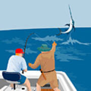 Big Game Fishing Blue Marlin Print by Aloysius Patrimonio