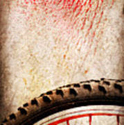 Bike Wheel Red Spray Print by Silvia Ganora