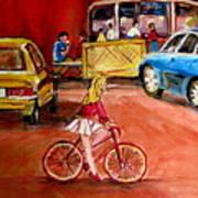 Biking To The Orange Julep Print by Carole Spandau