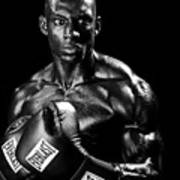 Black Boxer In Black And White 05 Print by Val Black Russian Tourchin