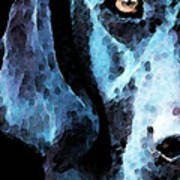 Black Labrador Retriever Dog Art - Hunter Print by Sharon Cummings