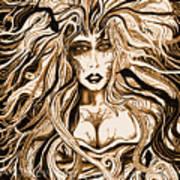 Blackmedusa-sepia Print by Steve Farr