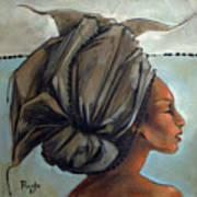 Blue And Black Bead Headdress Print by Jacque Hudson