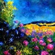 Blue And Pink Flowers Print by Pol Ledent