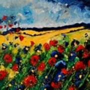 Blue And Red Poppies 45 Print by Pol Ledent