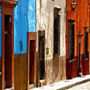 Blue Casa Row Print by Mexicolors Art Photography