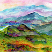 Blue Ridge Mountains Georgia Landscape  Watercolor  Print by Ginette Callaway