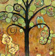 Bluebirds In Paradise Tree Print by Blenda Studio