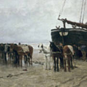 Boat On The Beach At Scheveningen Print by Anton Mauve