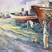 Boats Yard In Villajoyosa Spain Print by Miki De Goodaboom