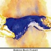 Borzoi Blue Flight Print by Kathleen Sepulveda