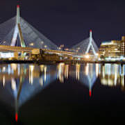 Boston Zakim Memorial Bridge Nightscape II Print by Shane Psaltis