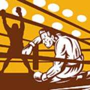 Boxer Down On His Hunches Print by Aloysius Patrimonio