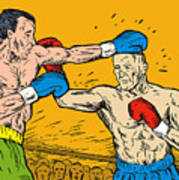 Boxer Punching Print by Aloysius Patrimonio