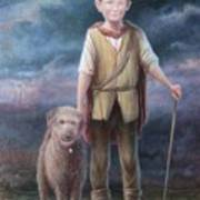 Boy With Dog Print by Hans Droog