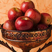 Brass Bowl With Fuji Apples Print by Garry Gay