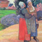 Breton Peasants Print by Paul Gauguin