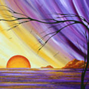 Brilliant Purple Golden Yellow Huge Abstract Surreal Tree Ocean Painting Royal Sunset By Madart Print by Megan Duncanson