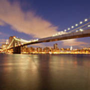 Brooklyn Bridge And Manhattan At Night Print by J. Andruckow