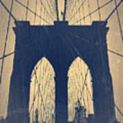 Brooklyn Bridge Blue Print by Naxart Studio