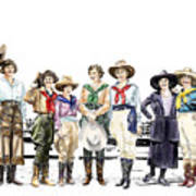 Buckin Horse Suffragettes Print by Shirley Morris