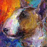 Bull Terrier Dog Painting Print by Svetlana Novikova