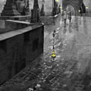 Bw Prague Charles Bridge 01 Print by Yuriy  Shevchuk