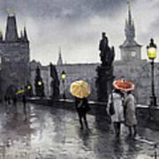 Bw Prague Charles Bridge 05 Print by Yuriy  Shevchuk