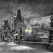 Bw Prague Charles Bridge 06 Print by Yuriy  Shevchuk