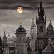 Bw Prague City Of Hundres Spiers Print by Yuriy  Shevchuk
