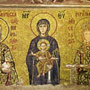 Byzantine Mosaic In Hagia Sophia Print by Artur Bogacki