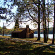 Cabin By The Lake Print by Sandy Keeton