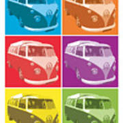 Camper Van Pop Art Print by Michael Tompsett