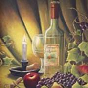 Candlelight Wine And Grapes Print by Diana Miller
