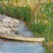 Canoe On Beach Print by Nada Frazier